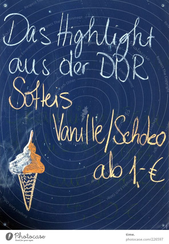 Blue Summer Signs and labeling Sweet Ice cream Letters (alphabet) Blackboard Advertising Restaurant Painting and drawing (object) Chalk GDR Chocolate Herbs and spices Refreshment Meal