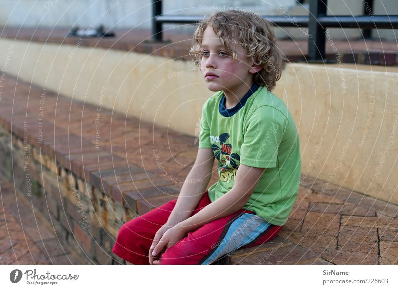 Human being Child Wall (building) Sadness Boy (child) Wall (barrier) Think Infancy Blonde Stairs Wait Cool (slang) Break Handrail Illness Curl