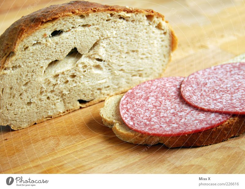 carnivores Food Sausage Dough Baked goods Bread Nutrition Breakfast Lunch Dinner Organic produce Delicious Salami Wooden board Brunch Hearty Colour photo