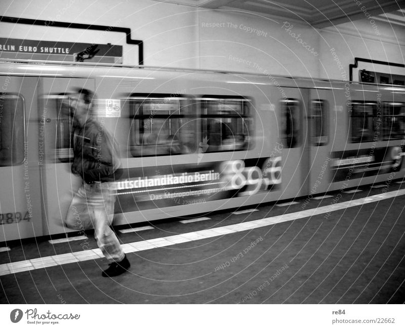 Run forrest! Alexanderplatz Underground Time Black White Speed Town Mobility Transport Station Berlin Railroad Walking Running Capital city climb