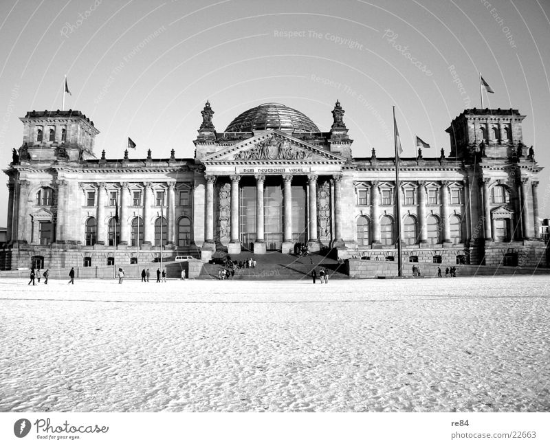 Berlin impression Domed roof Mirror Reflection Black White Frontal Exciting Glittering Winter Building Decade Politics and state Architecture Reichstag