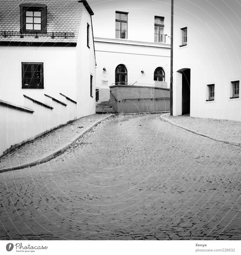 White City Calm Loneliness House (Residential Structure) Black Building Car Window Manmade structures Expressionless Cobblestones Pavement Alley Old town Old building Town