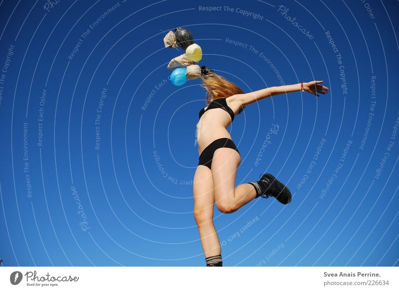 Human being Youth (Young adults) Beautiful Joy Adults Feminine Eroticism Playing Emotions Happy Jump Legs Contentment Blonde Power Fly
