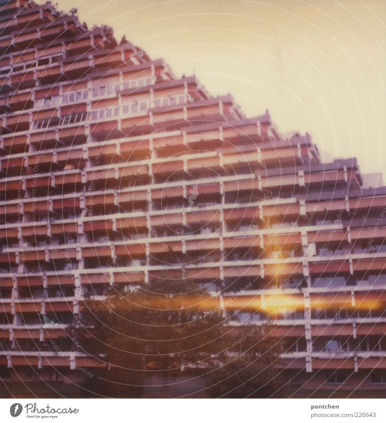 Pharaohais architecture. Polaroid shows a high-rise building of the 60s. architectural style, past Town House (Residential Structure) Manmade structures built