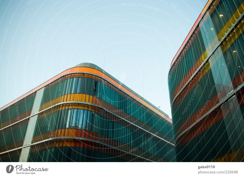 uni graz 2.0 House (Residential Structure) Sky Cloudless sky Manmade structures Building Architecture Facade Window Glass Steel Line Exceptional Large Cold
