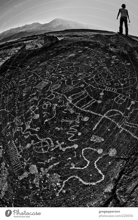 Petroglyph panel. Adventure Hiking Climbing Mountaineering 1 Human being 18 - 30 years Youth (Young adults) Adults Work of art Earth Characters Discover