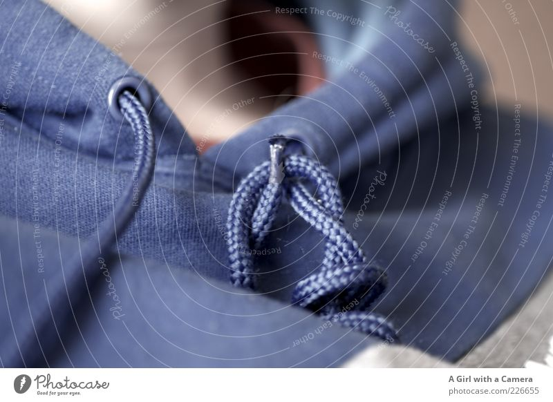 blue string Human being 1 Sweater sweatshirt Blue Knot String Leisure and hobbies Casual clothes Neck Modern Blur Shallow depth of field Hooded sweater