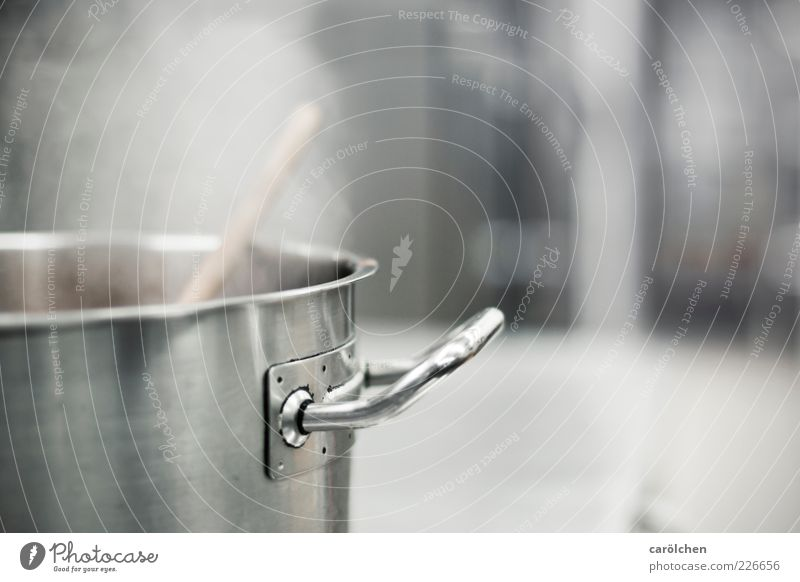 What's up today? Pot Gray Steel Door handle Steam Kitchen Gastronomy Cooking Colour photo Subdued colour Detail Deserted Copy Space right Copy Space top