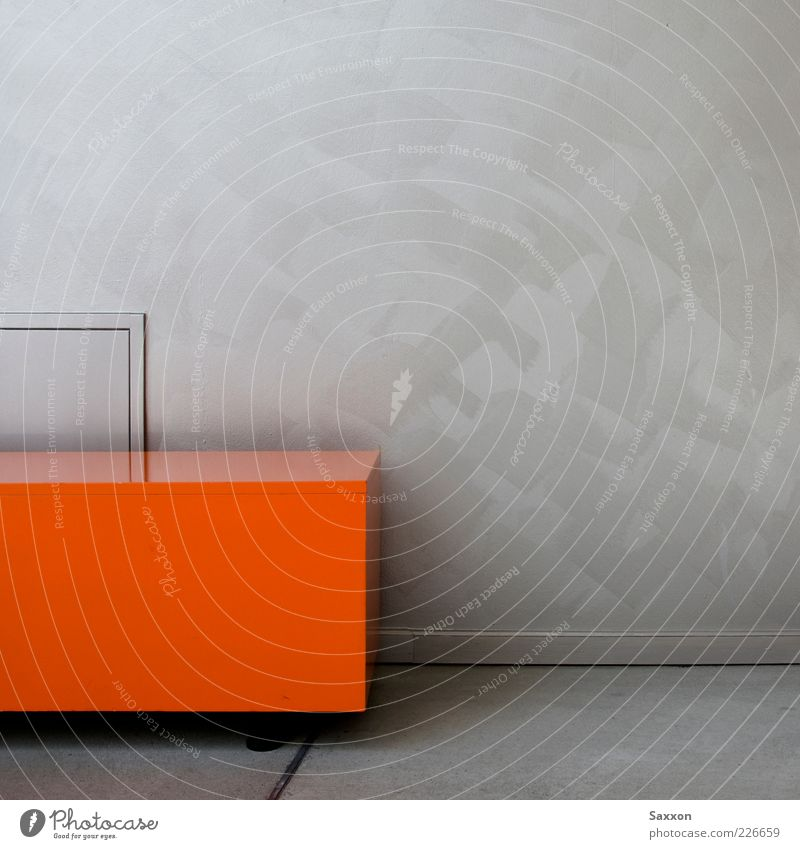 Orange Cube Wall (barrier) Wall (building) Box Metal Sharp-edged Red Silver Calm Colour photo Interior shot Detail Abstract Deserted Copy Space right