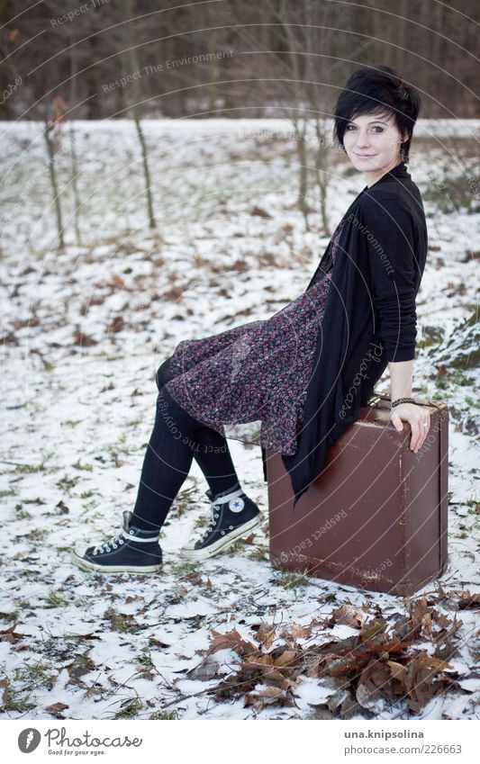 Woman Human being Nature Youth (Young adults) Vacation & Travel Winter Forest Meadow Feminine Snow Freedom Adults Brown Ice Wait Sit