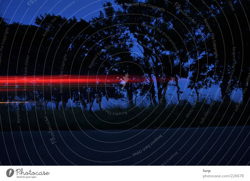 too late Sky Night sky Means of transport Traffic infrastructure Vehicle Car Movement Speed Strip of light Colour photo Exterior shot Deserted Evening Shadow
