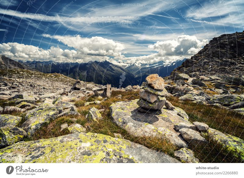 rock mussel Hill Rock Alps Mountain Hiking Landscape Panorama (View) Panorama (Format) Cairn Mountain range Colour photo