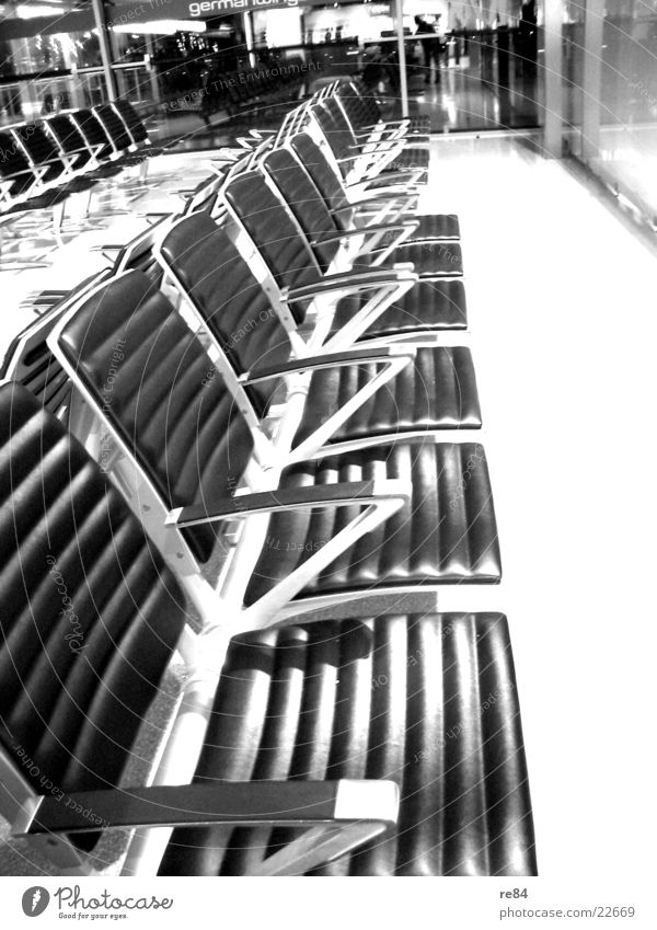 nobody there Bench Empty Deserted Leather Aviation Seating Row Airport Wait Sit Metal