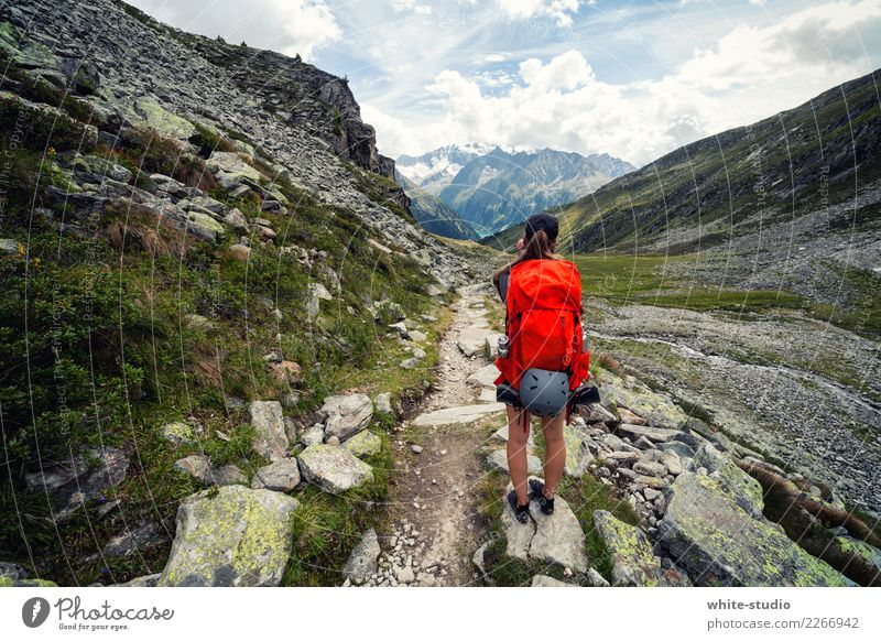 Woman Nature Vacation & Travel Summer Red Loneliness Far-off places Mountain Adults Environment Lanes & trails Tourism Freedom Trip Hiking Adventure
