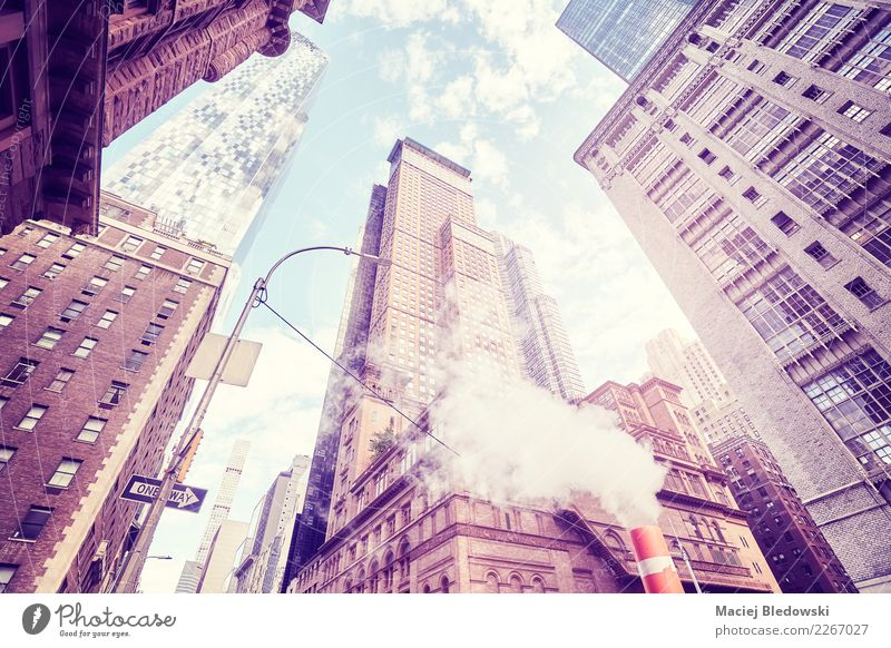 Looking up in New York City, color toned picture, USA. Sightseeing Living or residing Flat (apartment) House (Residential Structure) Office Downtown Skyline