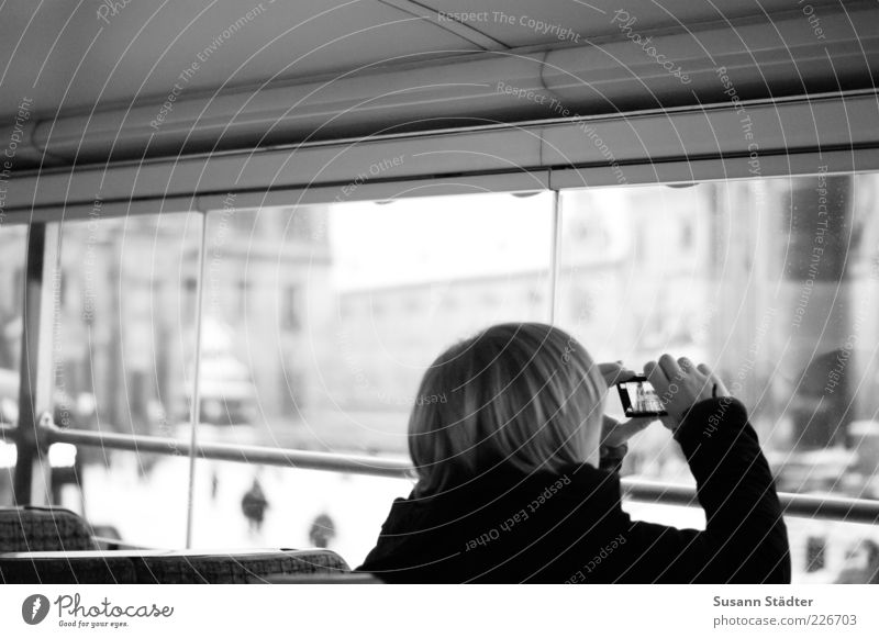 Human being City Vacation & Travel Window Head Hair and hairstyles Blonde Leisure and hobbies Trip Tourism Dresden Discover Black & white photo Make Bus