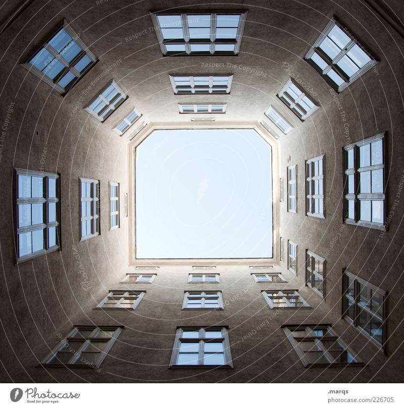 Window Building Architecture Large Tall Facade Perspective Gloomy Near Symbols and metaphors Narrow Upward Vienna Backyard