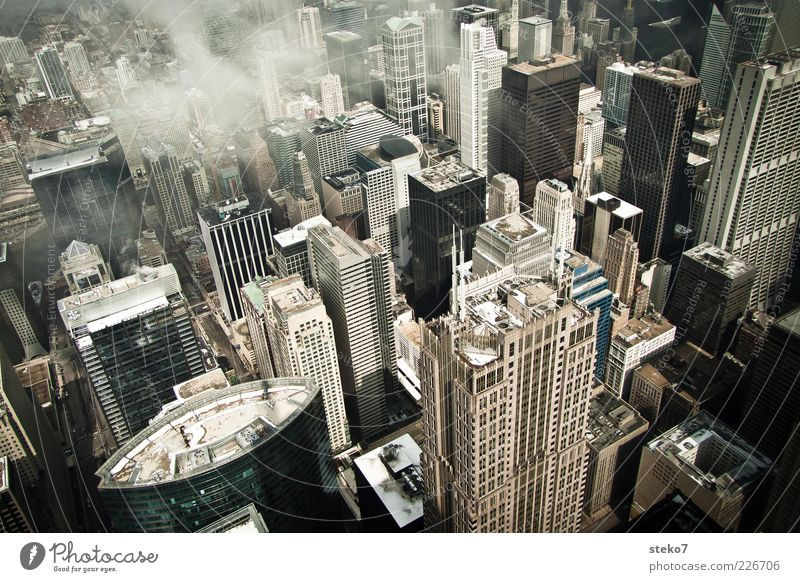 vertigo Clouds Downtown High-rise Roof Tall Cold Town Chicago gorge of houses Office building Colour photo Exterior shot Deserted Bird's-eye view Gloomy