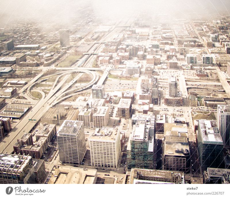 City House (Residential Structure) Clouds High-rise Tall Gloomy USA Highway Street Illinois Chicago Concreted Highway junction