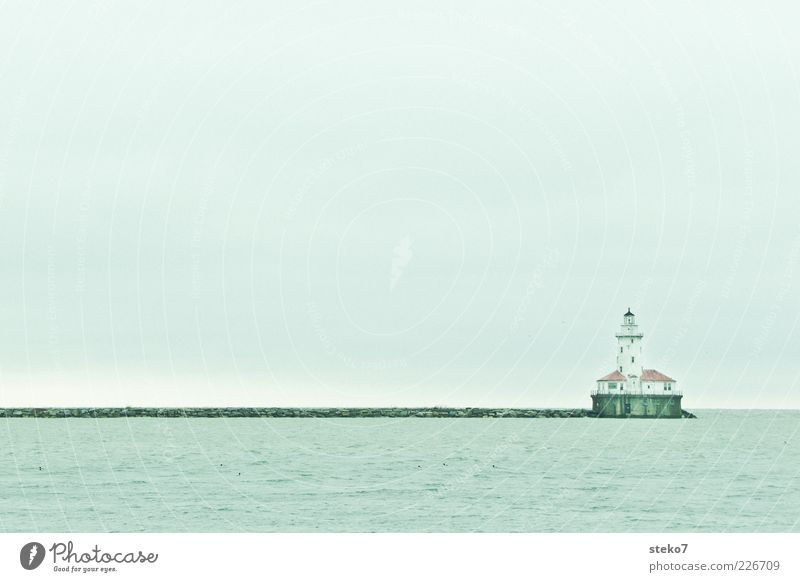 Keep access free Water Sky Ocean Lighthouse Harbour Blue Gray End Calm Far-off places Target Chicago Mole Subdued colour Exterior shot Deserted Copy Space top