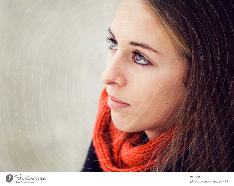 Human being Youth (Young adults) Beautiful Red Face Feminine Head Adults Uniqueness Woman Brunette Long-haired Scarf Neutral Face of a woman