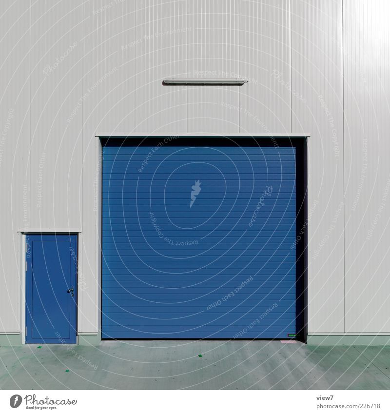 Blue Colour Wall (building) Gray Wall (barrier) Metal Line Door Facade Closed Arrangement Modern Large Esthetic Safety Stripe