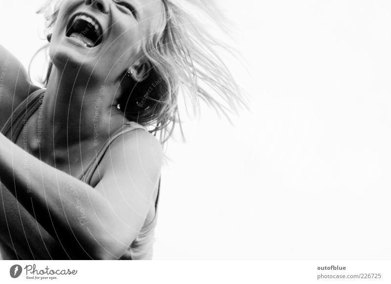 joy Feminine Mouth 1 Human being Free Happiness Happy Emotions Joy Joie de vivre (Vitality) Laughter Black & white photo Day Contrast Portrait photograph
