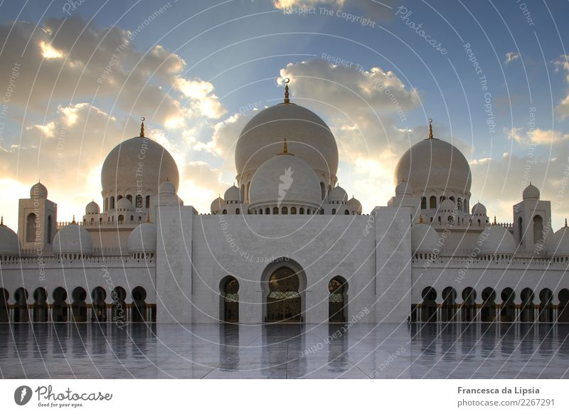Sheikh Zayid Mosque at dusk Abu Dhabi United Arab Emirates Asia Palace Places Architecture Tower Roof Domed roof Arcade Entrance Goal Tourist Attraction