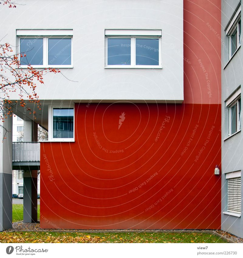 White Red House (Residential Structure) Colour Window Facade Arrangement Concrete Car Window Beginning Modern Fresh Esthetic Perspective Authentic