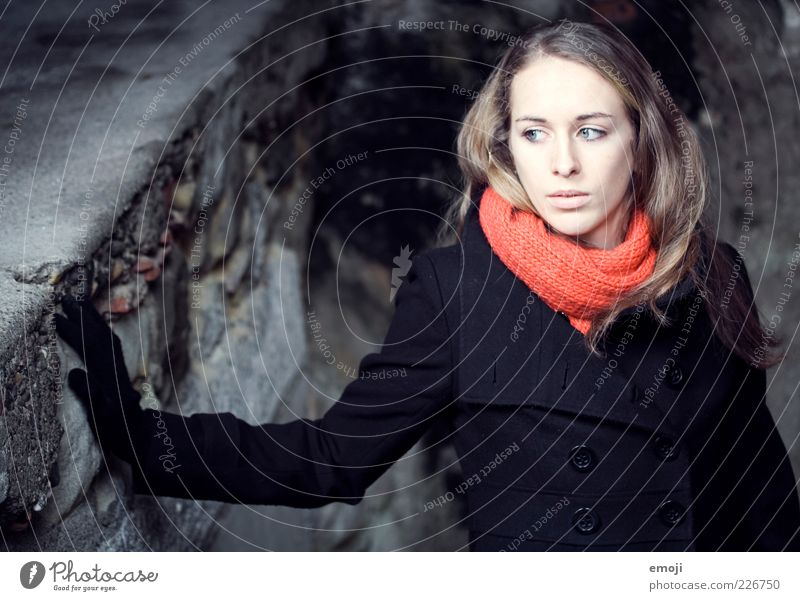 Human being Youth (Young adults) Blue Beautiful Red Calm Face Dark Cold Feminine Wall (building) Adults Sadness Fashion