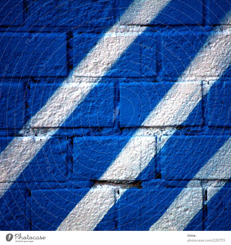 Blue White Colour Wall (building) Graffiti Wall (barrier) Stone Dye Art Facade Stripe Brick Diagonal Interest Copy Space Seam