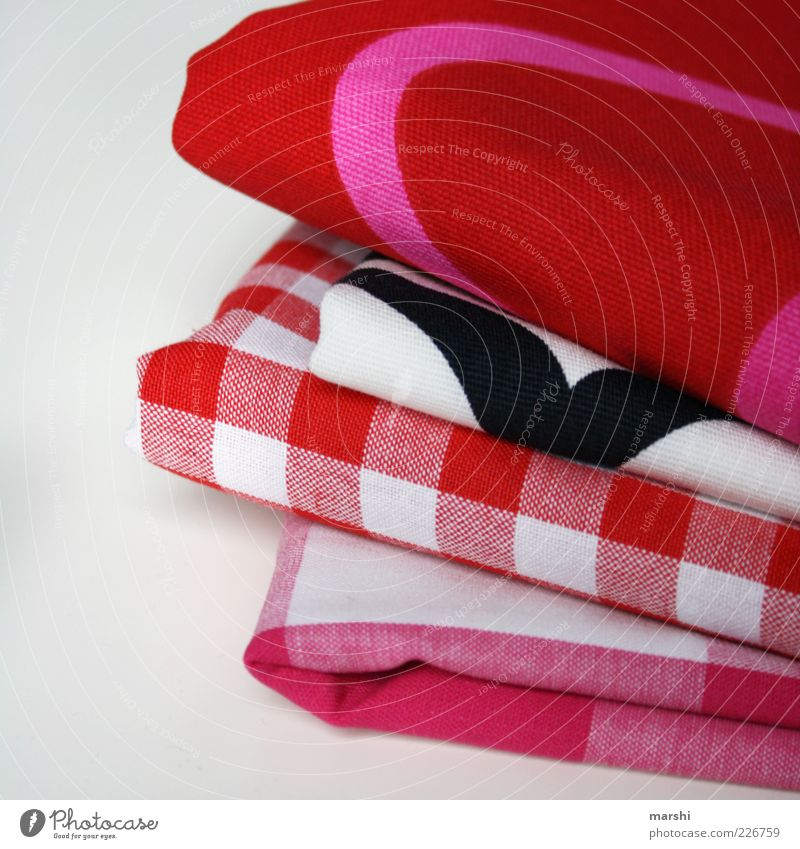 substance selection Cloth Pink Red Checkered Pattern Cloth pattern Stack Isolated Image Selection Colour photo Interior shot Deserted Neutral Background