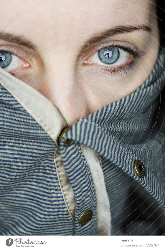 Woman Human being Blue Eyes Feminine Head Emotions Style Adults Fashion Closed Whimsical Sweater Striped Captured Eyelash