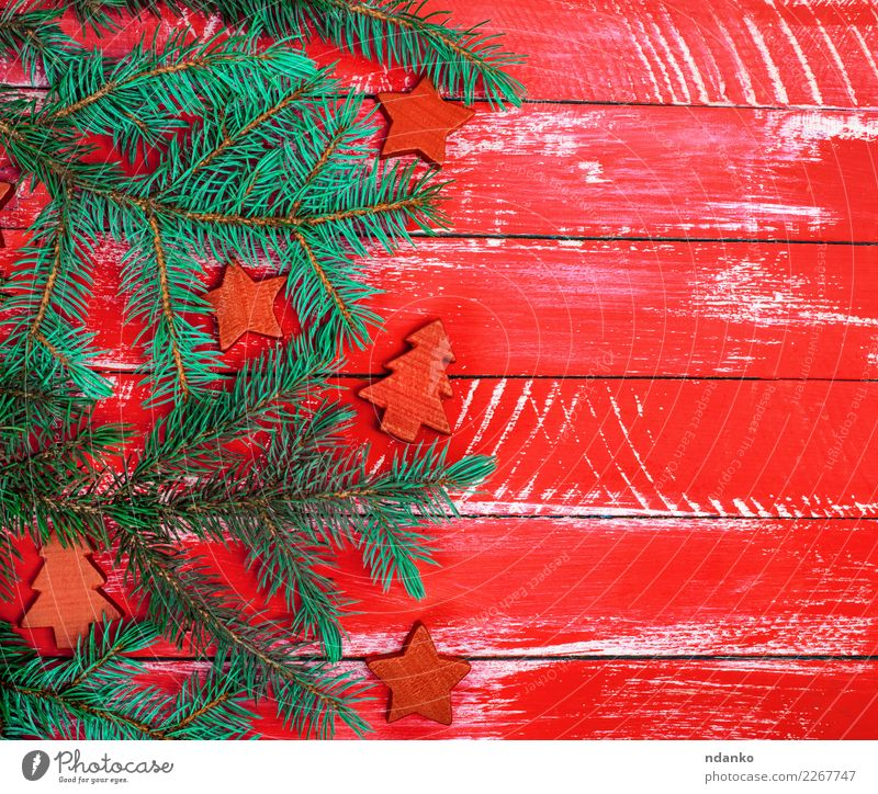 bright red wooden background of boards Decoration Feasts & Celebrations Christmas & Advent New Year's Eve Tree Wood Old Retro Green Red Spruce fir copy space