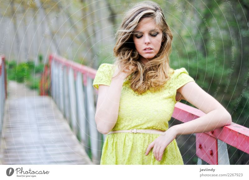 Blonde girl wearing dress in a rural bridge with eyes closed Beautiful Hair and hairstyles Relaxation Summer Human being Feminine Woman Adults