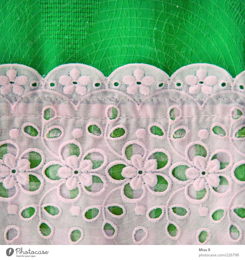 Grandma Dirndl Cloth Kitsch Green White Traditional costume Costume Embroidery Border Decoration Flower Cloth pattern Silk flower Colour photo Multicoloured