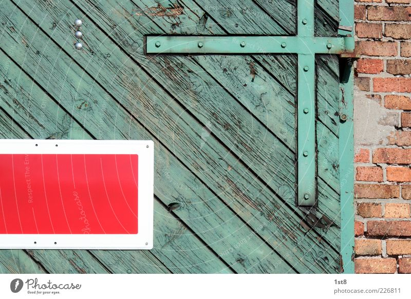 Green Beautiful Red Wall (building) Wood Architecture Wall (barrier) Door Facade Signs and labeling Railroad Esthetic Logistics Manmade structures Factory Brick