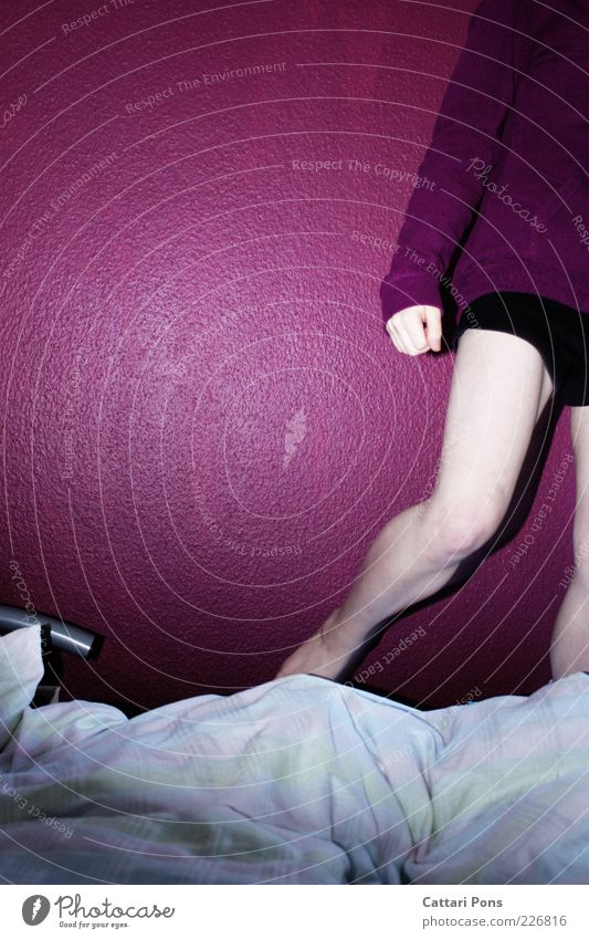 quickly away Skin Bed Bedroom Human being Young woman Youth (Young adults) Legs 1 Violet Black White Colour photo Interior shot Copy Space left Flash photo