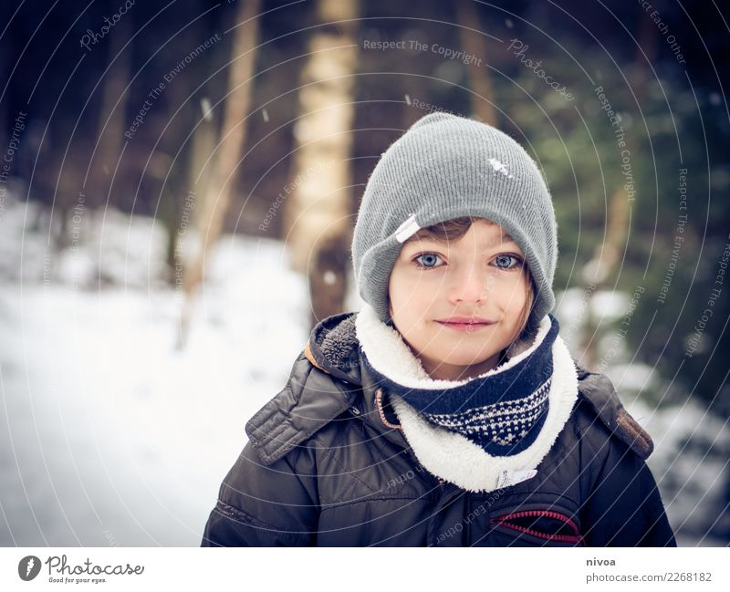 snowy Winter Snow Human being Masculine Child Boy (child) Infancy 1 8 - 13 years Environment Nature Landscape Climate Snowfall Tree Forest Coat Scarf Cap Angel