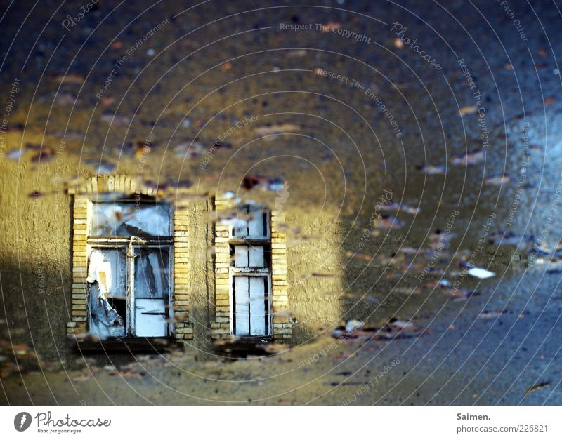 Loneliness House (Residential Structure) Dark Window Moody Bright Dirty Glittering Facade Transience Asphalt Longing Mysterious Puddle Twilight Water