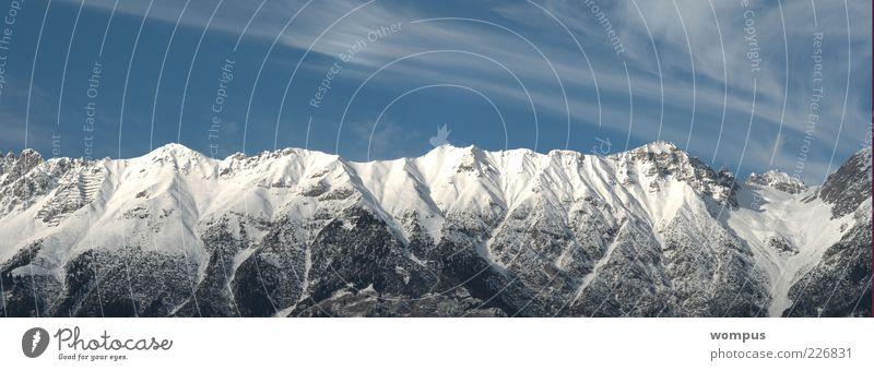 Sky Nature Blue White Clouds Winter Snow Mountain Landscape Wind Rock Alps Peak Beautiful weather Snowcapped peak