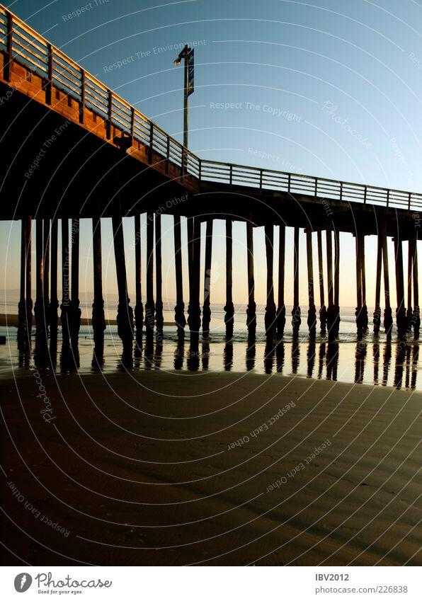 Water Vacation & Travel Beach Ocean Calm Relaxation Sand Coast Bridge USA Americas Footbridge Jetty Construction California Pacific Ocean