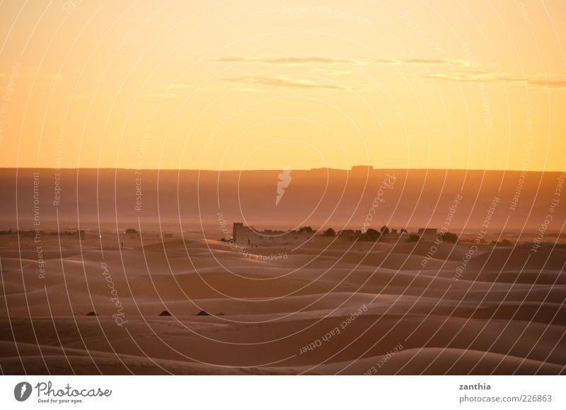 desert Nature Landscape Sand Sky Clouds Sunrise Sunset Beautiful weather Desert Sahara Dune Ruin Calm Loneliness Apocalyptic sentiment Eternity Horizon Climate