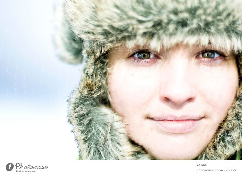 Woman Human being Youth (Young adults) Winter Face Eyes Life Cold Feminine Head Adults Bright Mouth Ice Glittering Nose