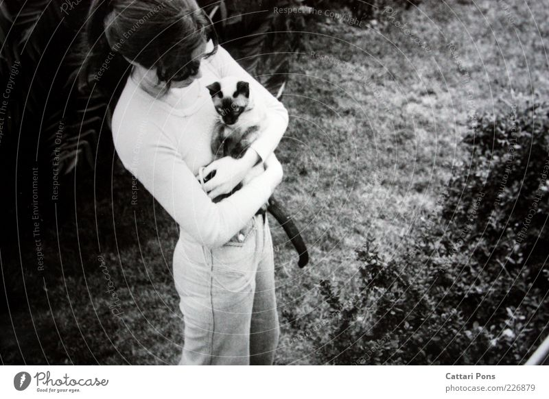 Human being Nature Youth (Young adults) Animal Meadow Feminine Cat Stand Bushes Retro To hold on Pet Young woman Black & white photo Love of animals Woman