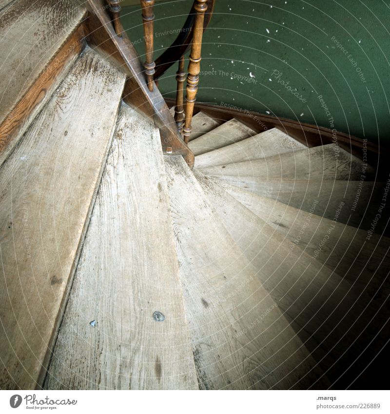 down Stairs Banister Wood Old Perspective Colour photo Interior shot Close-up Deserted Staircase (Hallway) Downward Copy Space bottom Shaft of light Wood grain