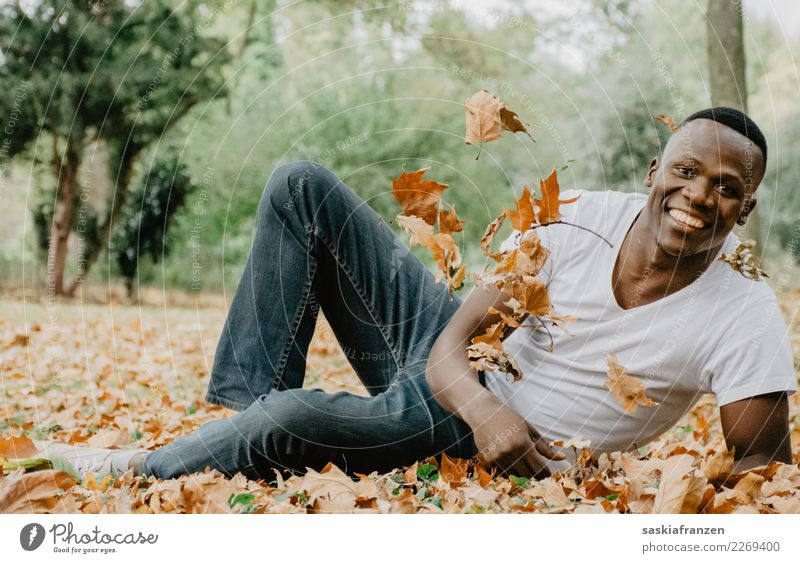 Human being Nature Youth (Young adults) Man Plant Beautiful Young man Leaf Adults Lifestyle Autumn Happy Garden Fashion Contentment Masculine