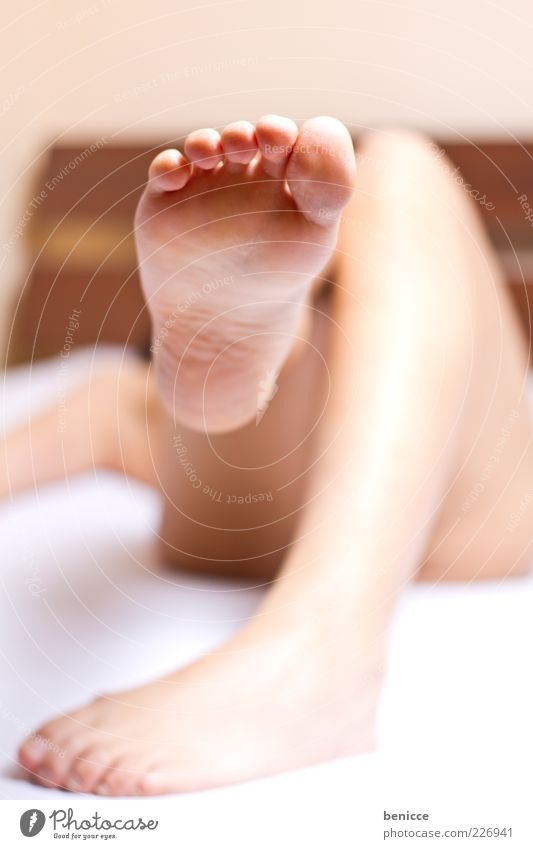 Woman Human being Relaxation Legs Feet Lie Bed Anonymous Barefoot Toes Tread Sole of the foot Naked flesh