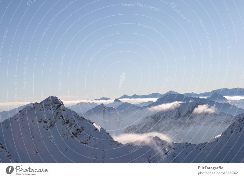On the sunny side Environment Nature Landscape Sky Winter Fog Snow Rock Alps Mountain schladminger tauern Tauern Peak Red-mandel tip Snowcapped peak Infinity