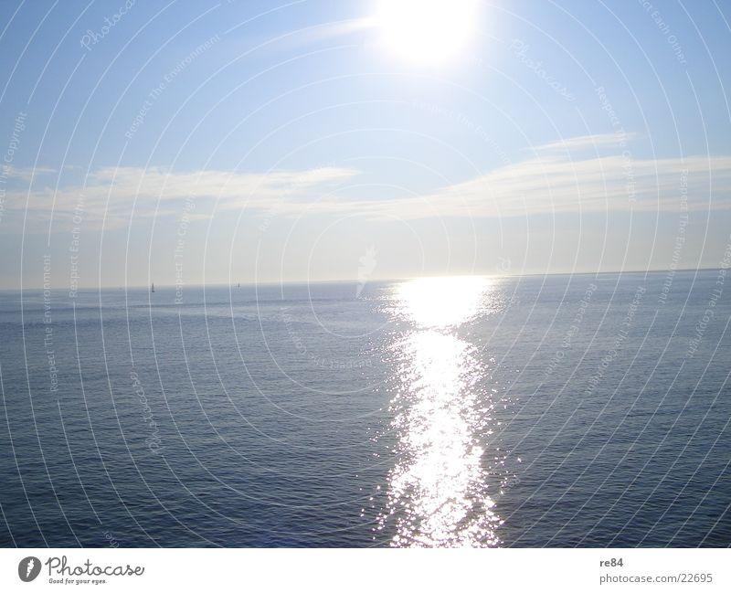 Water Sky White Sun Ocean Blue Summer Beach Vacation & Travel Calm Clouds Lake Watercraft Waves Horizon North Sea